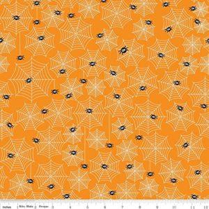 1-Yard-Halloween-Parade-by-Doodlebug-Designs-from-Riley-Blake-100-Cotton-Quilt-Fabric-C3963-Cobwebs-Orange-0